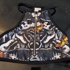 BlackMilk Butterfly Zip Sports Bra Crop Size XS